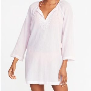 NWT Embroidered pink tassel tie swim coverup tunic